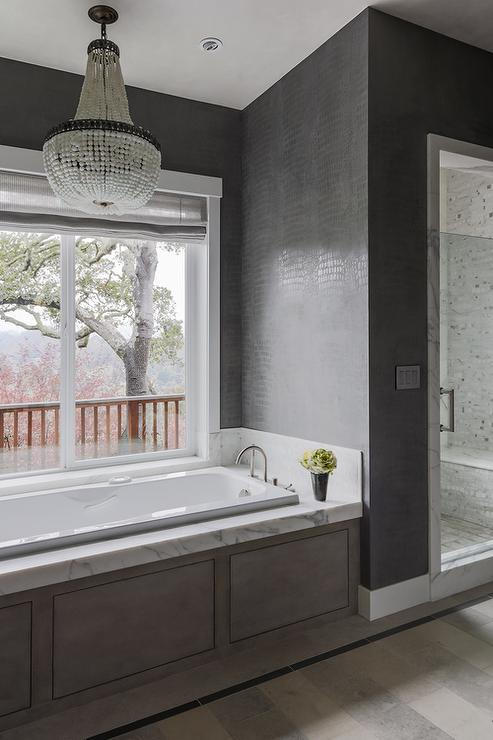 Robert Abbey Bling Chandelier Over Tub Transitional