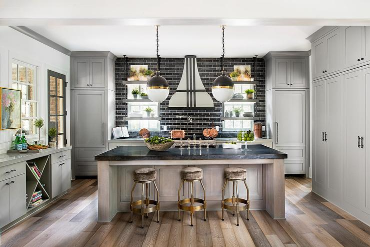 Gray Kitchen Cabinets with Black Brick Tile Backsplash ... on Black Countertops  id=98984