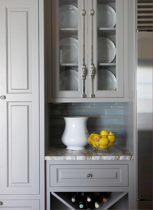 Gray Kitchen Cabinets With Cremone Bolts And Fantasy Brown