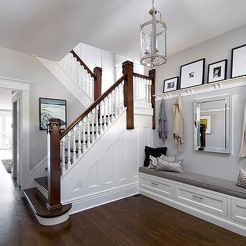 Long Foyer With Built In Bench Under Mirror Transitional