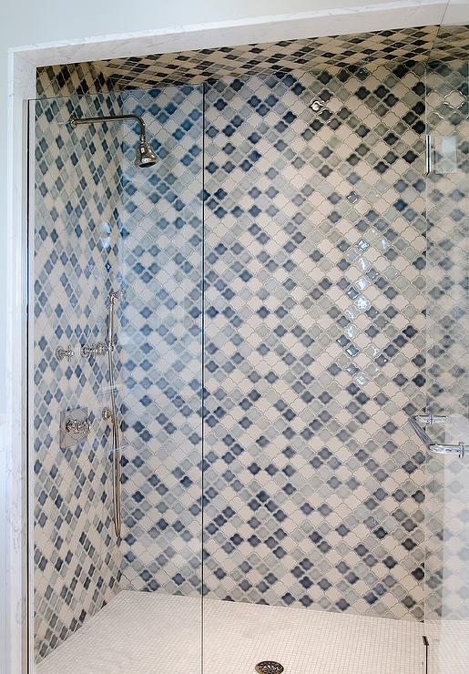 blue arabesque tiles contemporary