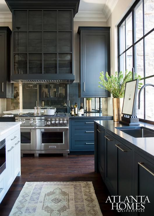 Antiqued Mirrored Backsplash Contemporary Kitchen Dominic Schuster LTD