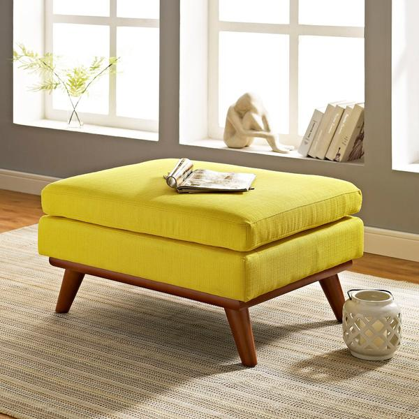 yellow engage fabric ottoman