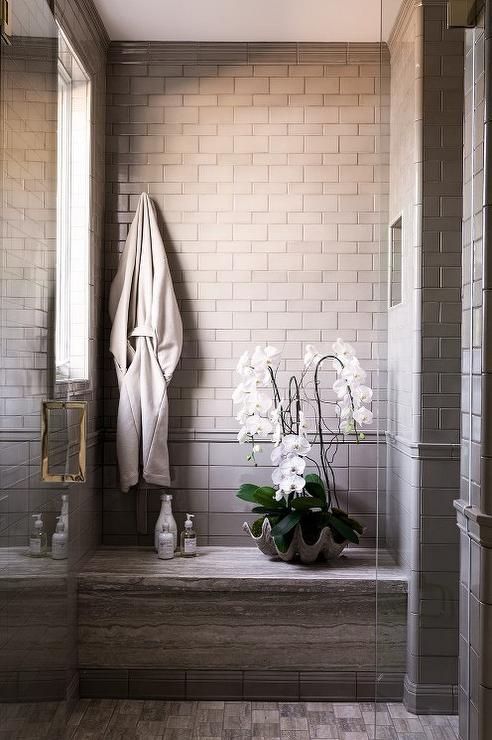 Shower With Mixed Tiles Design Ideas