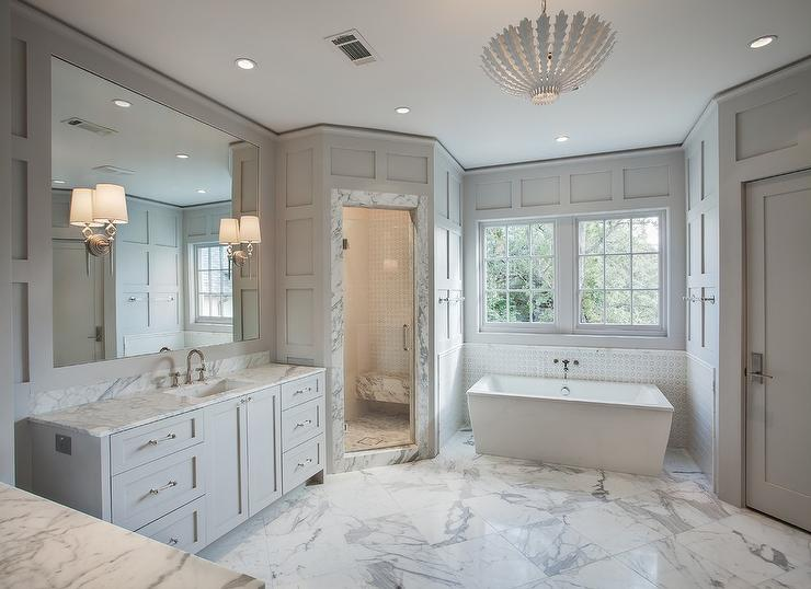 White And Gray Bathroom With Schoolhouse Flush Mount Over