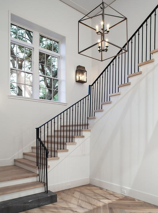 Iron Staircase With X Trim Transitional Entrance Foyer | Wood And Iron Stair Railing | Banister | Reclaimed Wood | Wrought Iron Staircase Used | Ss Railing Design | Metal
