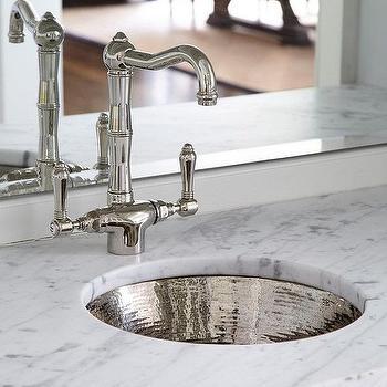 round hammered metal wet bar sink