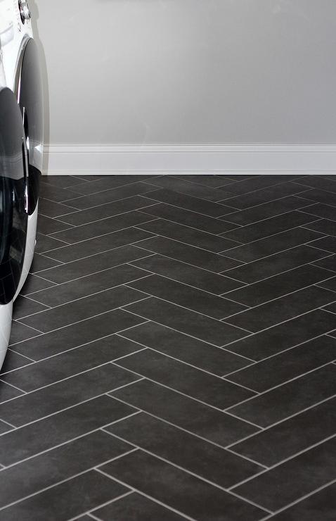 black herringbone laundry floor tiles