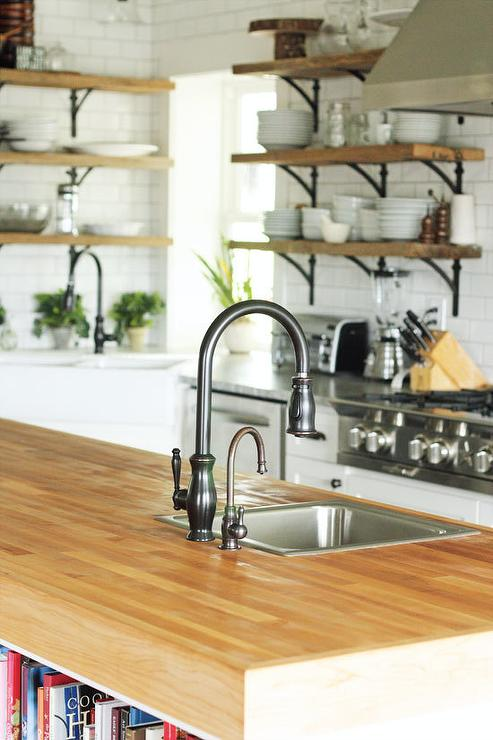 Thick Butcher Block Island Countertop With Sink
