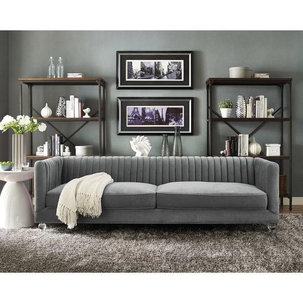 Abbyson Living Claridge Dark Grey Velvet Fabric Tufted Sofa