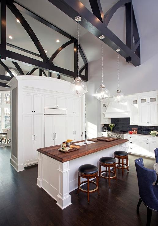Lighting Hanging From Truss Ceiling Transitional Kitchen