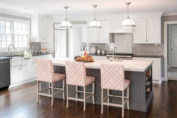 Gray KItchen Island with Pink Trellis Counter Stools   Transitional     Gray KItchen Island with Pink Trellis Counter Stools