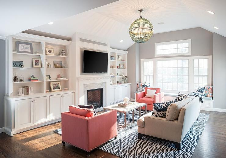 Gray Living Room With Pink Chairs Transitional