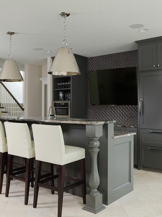 Basement Wet Bar With Dark Gray Cabinets And Gray Granite