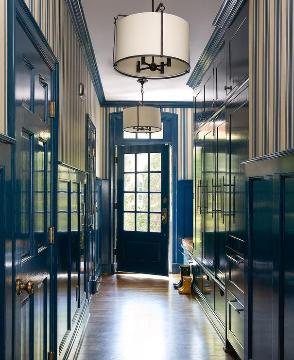 Long Blue Mudroom With Blue Lacquered Mudroom Cabinets