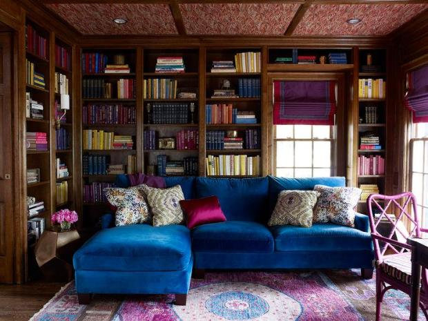 Jewel Tone Decor Living Room Library with Vibrant Blue Couch Bookshelves  Area Rug