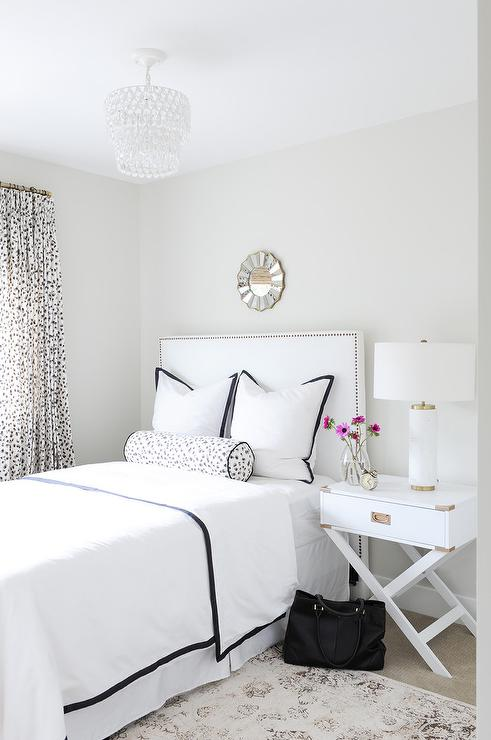 Black And White Bedroom With White Campaign Nightstand Contemporary Bedroom
