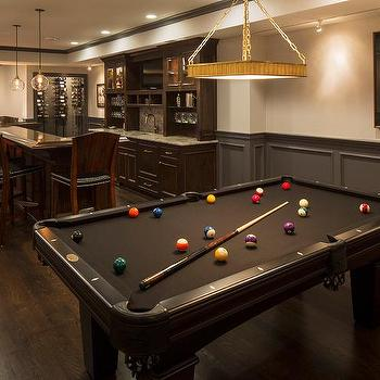 Contemporary Basement Family Room With Black Velvet Tufted