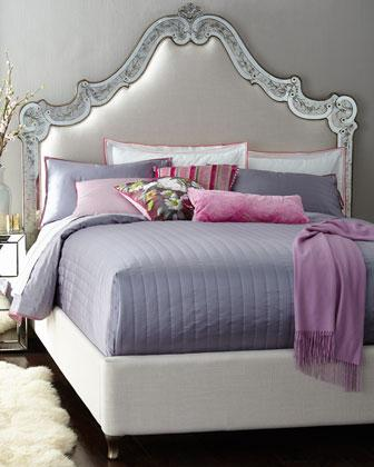 margo mirrored ivory tufted bed