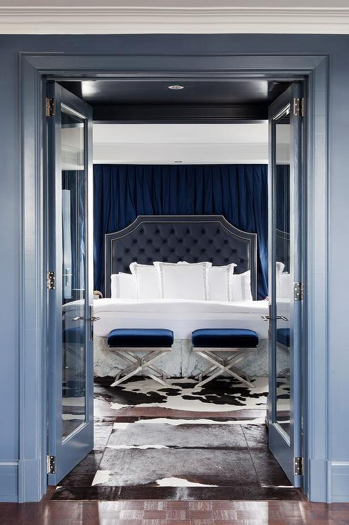 Blue Bedroom With Blue Velvet X Stools At Foot Of Bed Transitional Bedroom