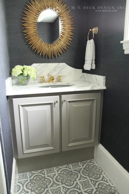 Black And Gray Powder Room With Arteriors Prescott Gold