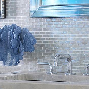 blue iridescent backsplash tile design
