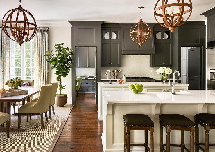 Black And White Kitchen With White Subway Tile Herringbone Pattern Backsplash Transitional