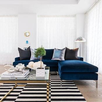 Sapphire Blue Velvet Sofa With Chaise Lounge Design Ideas Sapphire Blue Velvet Sofa with Chaise Lounge and Black and White Striped Rug
