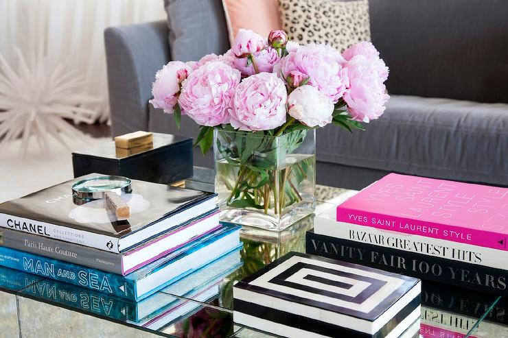 Styled Mirrored Cocktail Table with Designer Coffee Table Books