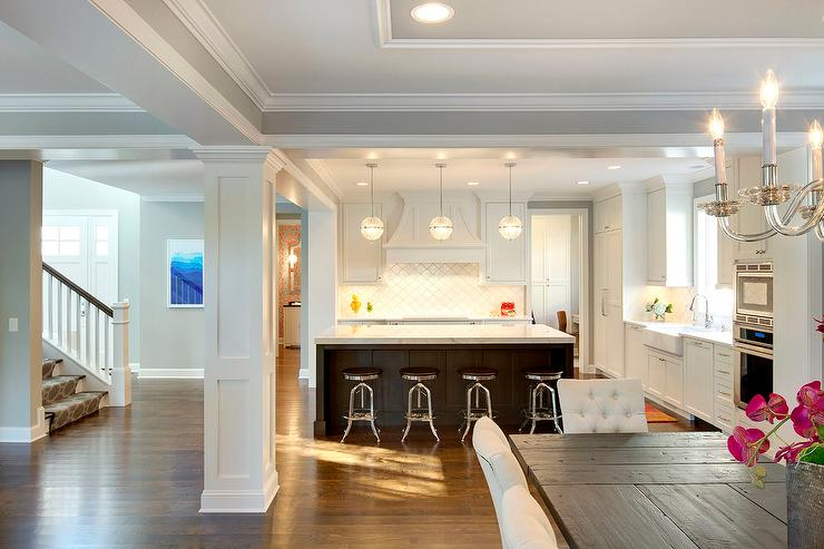 Open Plan Kitchen Next To Dining Room Transitional