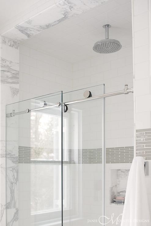 walk in shower with glass doors on rail