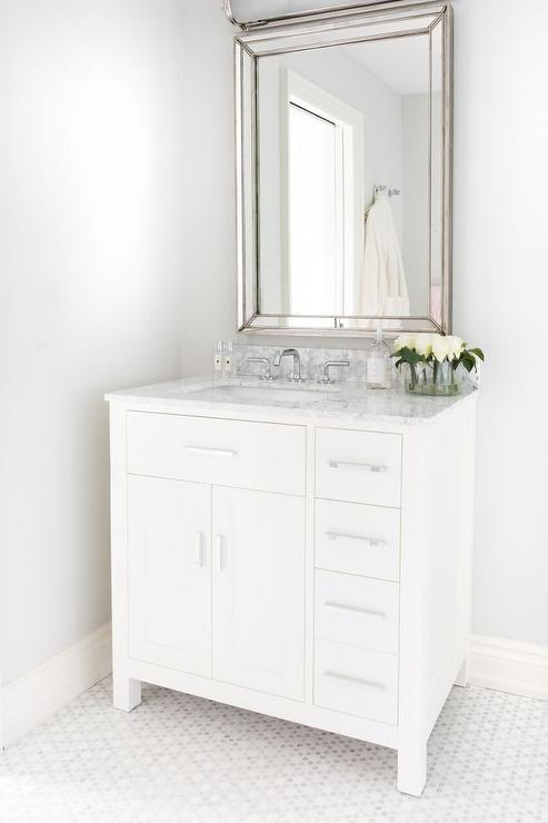 single washstand with off centered sink