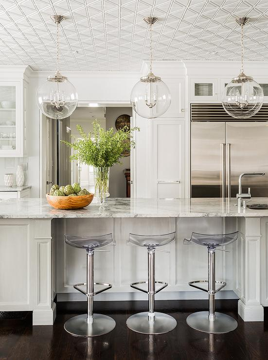 White Kitchen With Regina Andrew Large Globe Pendants And Acrylic Adjustable Barstools