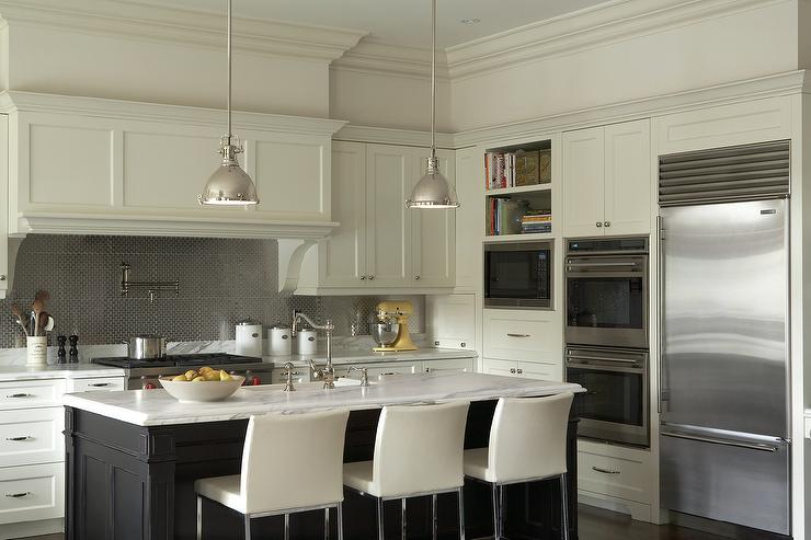 Ivory And Black Kitchen Cabinets With Stainless Steel Hex