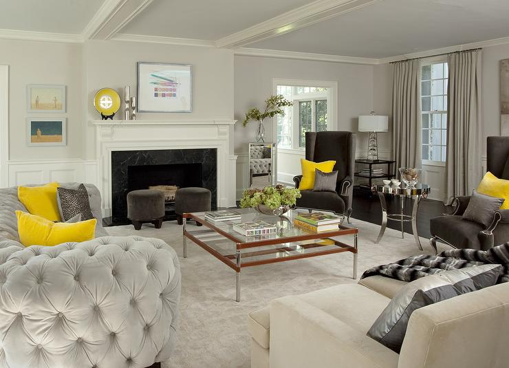 yellow and gray living room with light