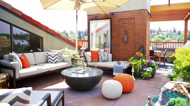 Contemporary Rooftop Deck with Orange Accents ... on Black And White Backyard Decor  id=35902
