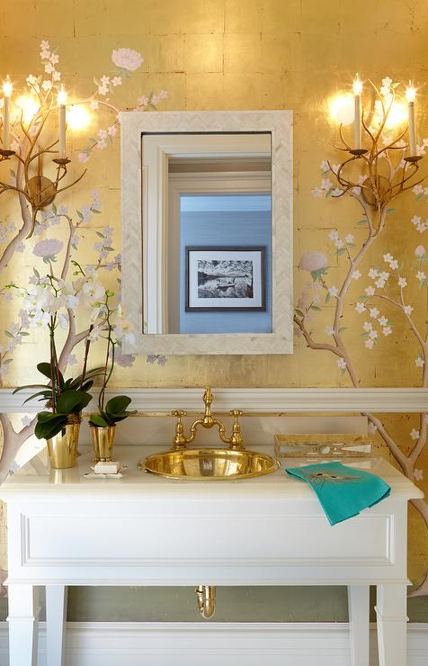 Chinoiserie Powder Room With Gold Metallic Wallpaper And