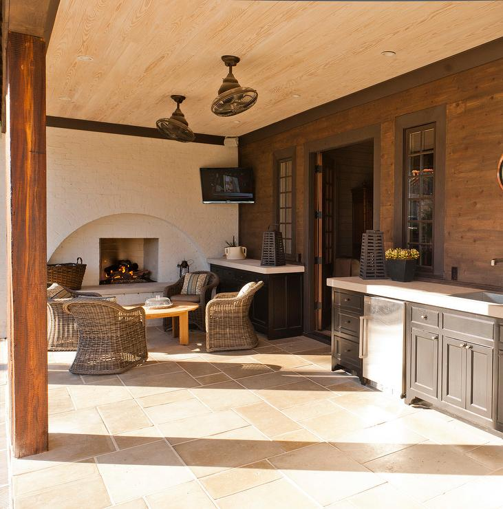 Mediterranean Covered Patio with Built In Fireplace ... on Covered Outdoor Kitchen With Fireplace id=15484