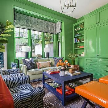 Green and orange living room for Apple green living room ideas