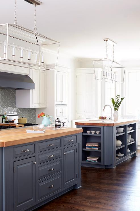Blue Gray Kitchen Islands with Maple Butcher Block ... on Gray Countertops With Maple Cabinets  id=22366
