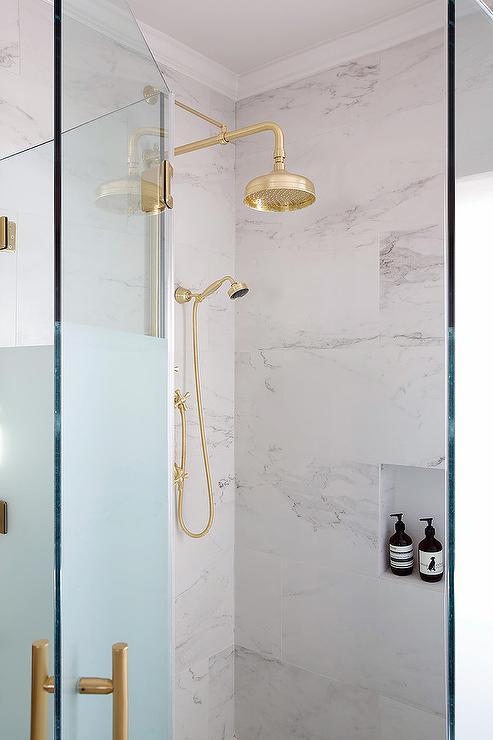 Vintage Brass Rain Shower Head Design Ideas
