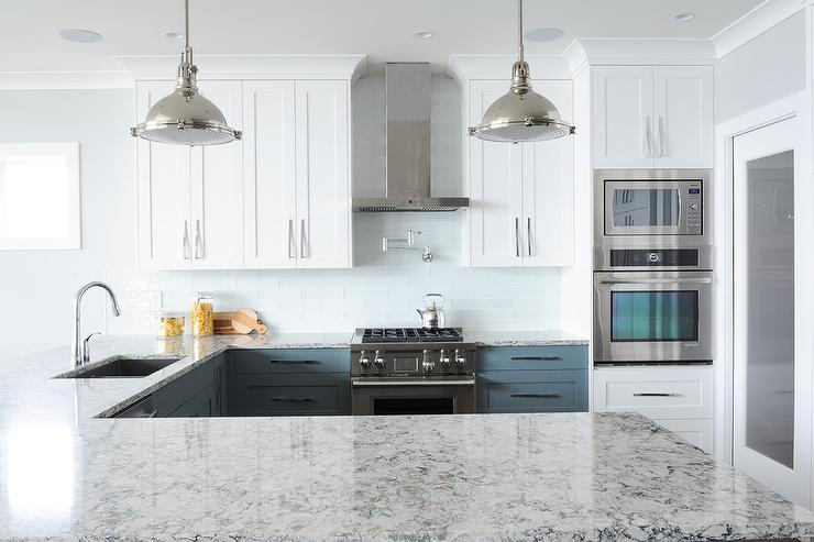 White Upper Cabinets And Blue Lower Cabinets