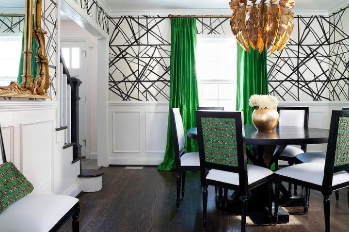 Green and Black Dining Room with Gold Feathers Chandelier     Green and Black Dining Room with Gold Feathers Chandelier
