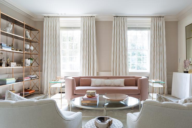 Gold And Pink Living Room With Brass Etagere Contemporary Part 32