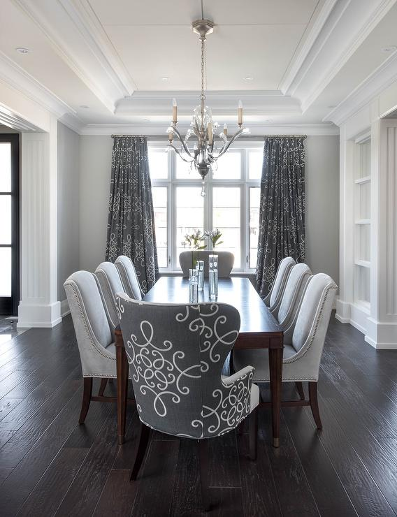 Gray Dining Room with Gray medallion Curtains ... on Dining Room Curtains  id=70507