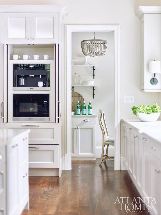 hidden coffee maker and microwave in