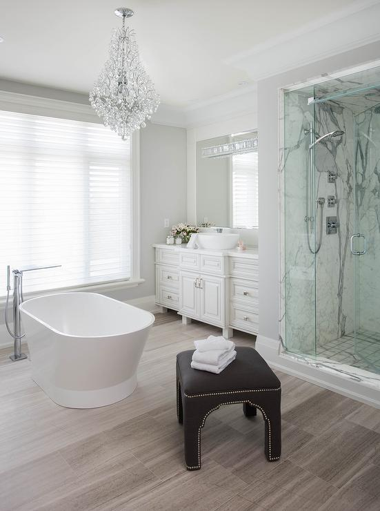 White Master Bathroom with Taupe Wood Like Tile Floor ...