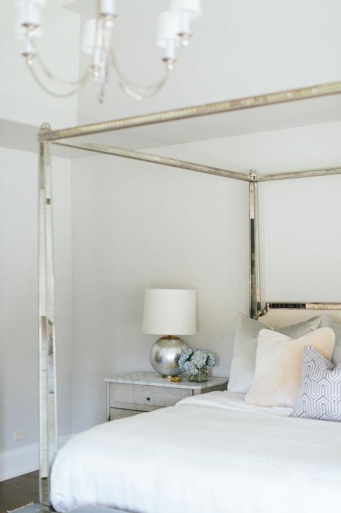 Mirrored Canopy Bed with Black Velvet Headboard ... on Mirrors Next To Bed  id=89658