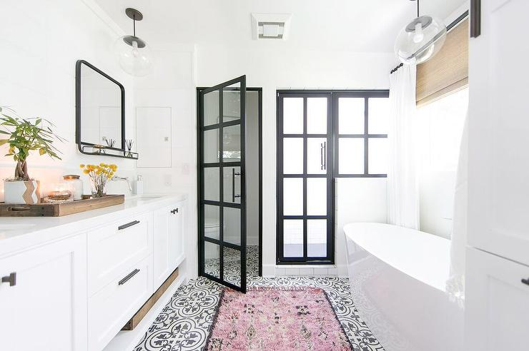 white cement tile bathroom floor