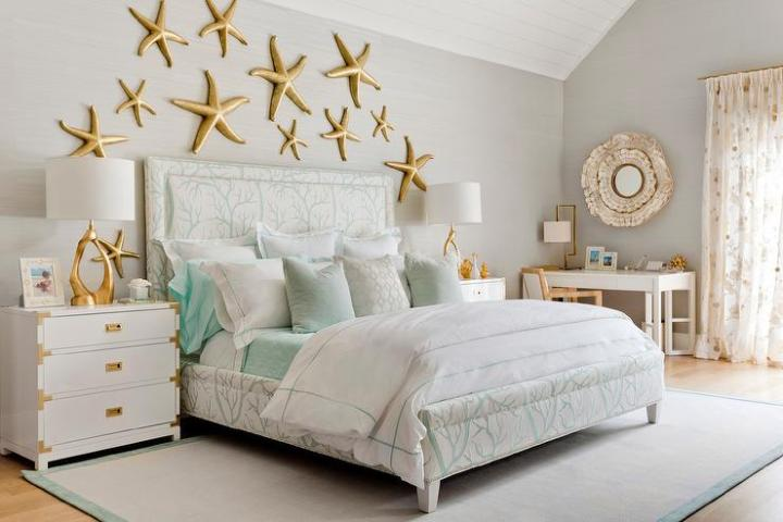 Contemporary Beach Cottage Bedroom with Gold Starfish Wall Decor     Contemporary Beach Cottage Bedroom with Gold Starfish Wall Decor